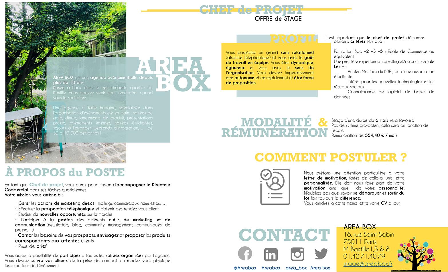 Chef De Projet Area Box Agence Evenementielle